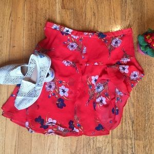 Old Navy Red Floral Skirt